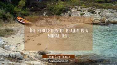 The perception of beauty is a moral test. Henry David Thoreau Quotes