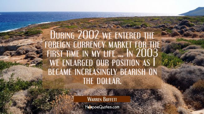 During 2002 we entered the foreign currency market for the first time in my life ... In 2003 we enl
