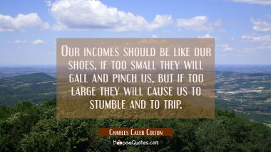 Our incomes should be like our shoes, if too small they will gall and pinch us, but if too large th