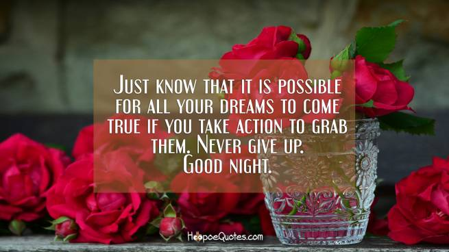Just know that it is possible for all your dreams to come true if you take action to grab them. Never give up. Good night.