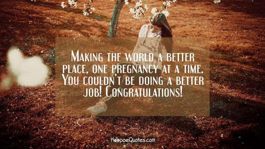 Making the world a better place, one pregnancy at a time. You couldn't be doing a better job! Congratulations! Pregnancy Quotes