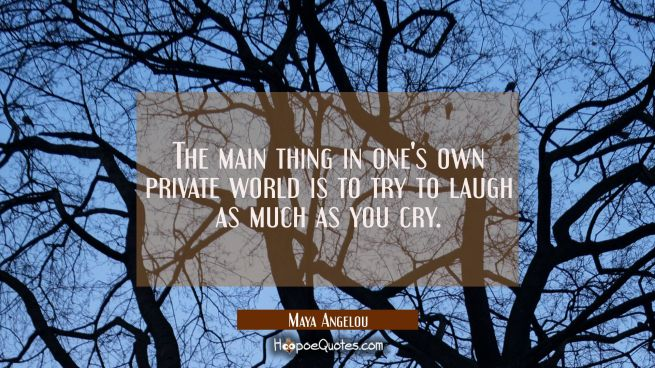 The main thing in one's own private world is to try to laugh as much as you cry.