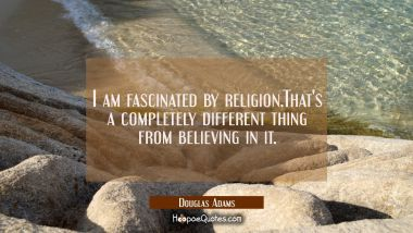 I am fascinated by religion.That's a completely different thing from believing in it.