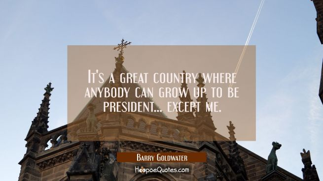 It's a great country where anybody can grow up to be president... except me.