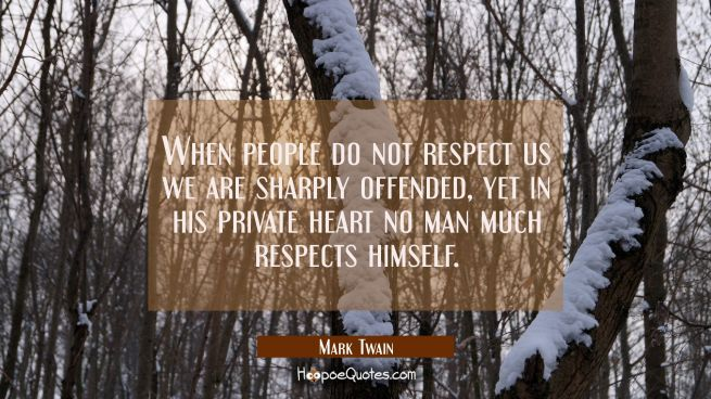 When people do not respect us we are sharply offended, yet in his private heart no man much respect
