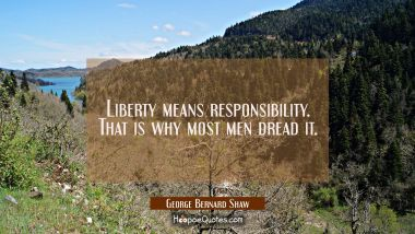 Liberty means responsibility. That is why most men dread it.