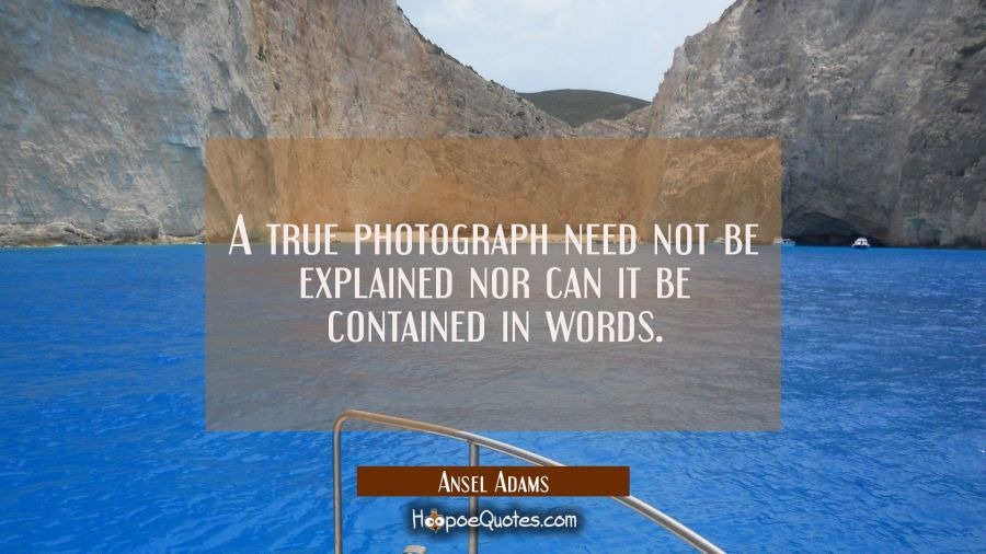 A true photograph need not be explained nor can it be contained in words. Ansel Adams Quotes