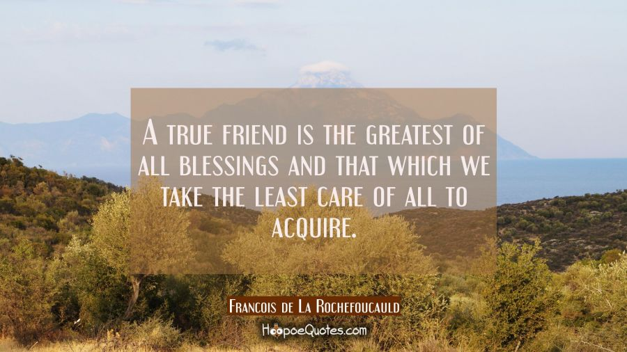 A true friend is the greatest of all blessings and that which we take the least care of all to acqu Francois de La Rochefoucauld Quotes