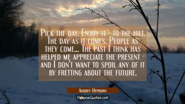 Pick the day. Enjoy it - to the hilt. The day as it comes. People as they come... The past I think Audrey Hepburn Quotes