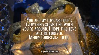 You are my love and hope; everything seems fine when you're around. I hope this love will be forever. Merry Christmas, dear. Christmas Quotes
