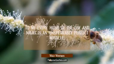 To me every hour of the day and night is an unspeakably perfect miracle. Walt Whitman Quotes