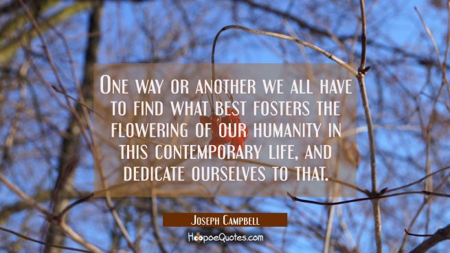 One way or another we all have to find what best fosters the flowering of our humanity in this cont