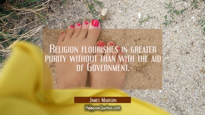 Religion flourishes in greater purity without than with the aid of Government.