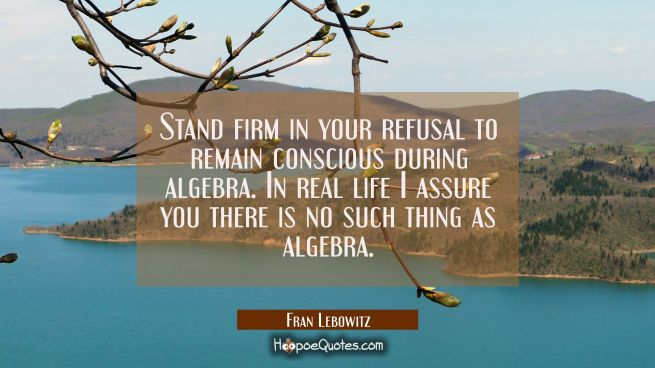 Stand firm in your refusal to remain conscious during algebra. In real life I assure you there is n