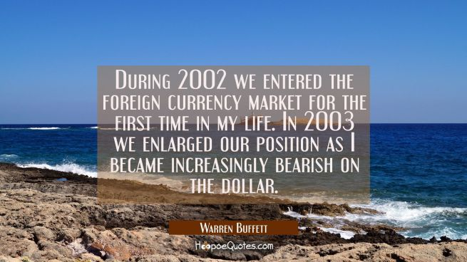 During 2002 we entered the foreign currency market for the first time in my life. In 2003 we enlarg