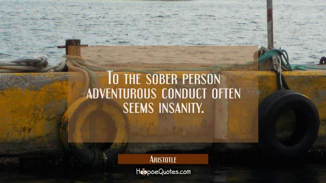 To the sober person adventurous conduct often seems insanity.