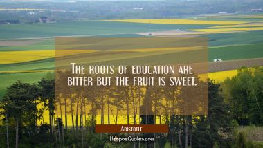 The roots of education are bitter but the fruit is sweet.