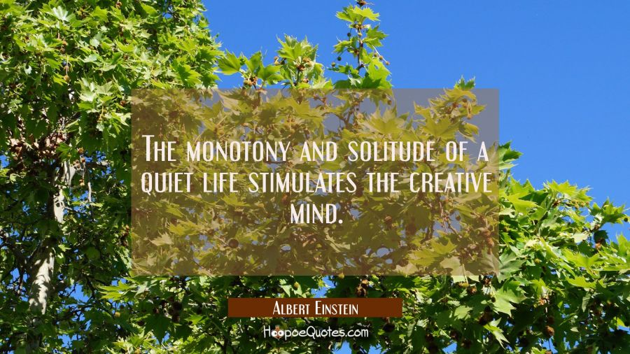 The monotony and solitude of a quiet life stimulates the creative mind. Albert Einstein Quotes