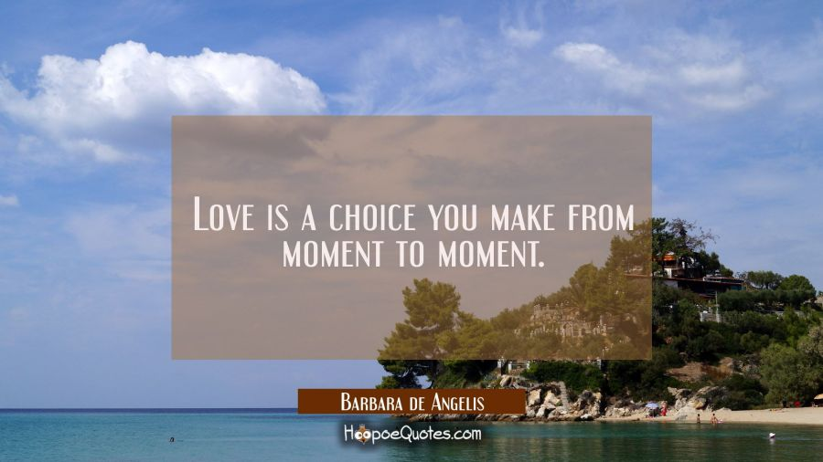 Love is a choice you make from moment to moment. Barbara de Angelis Quotes