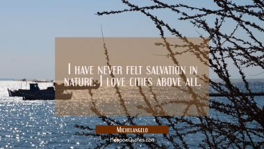 I have never felt salvation in nature. I love cities above all. Michelangelo Quotes