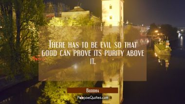 There has to be evil so that good can prove its purity above it.