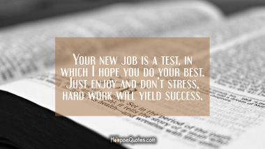 Your new job is a test, in which I hope you do your best. Just enjoy and don't stress, hard work will yield success.