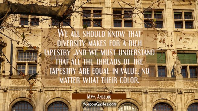 We all should know that diversity makes for a rich tapestry and we must understand that all the thr