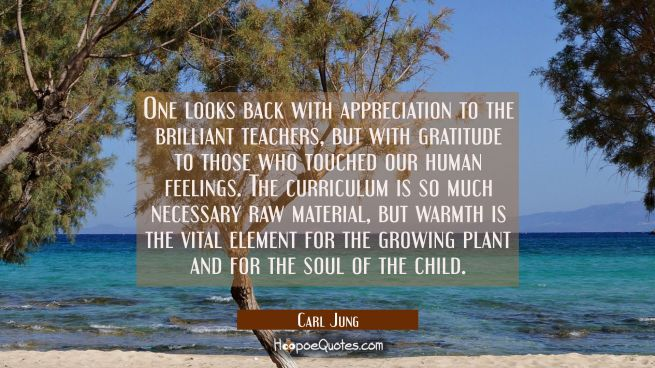 One looks back with appreciation to the brilliant teachers but with gratitude to those who touched