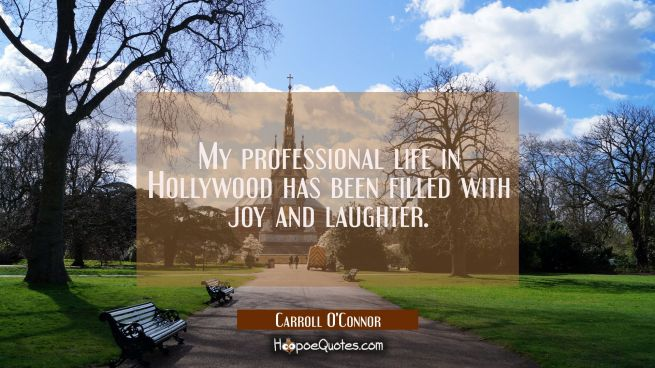 My professional life in Hollywood has been filled with joy and laughter.
