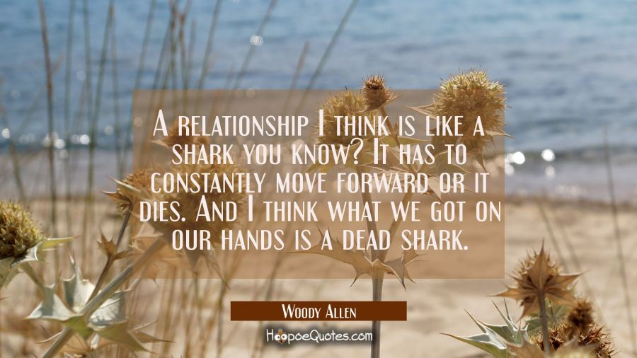 A relationship I think is like a shark you know? It has to constantly move forward or it dies. And Woody Allen Quotes