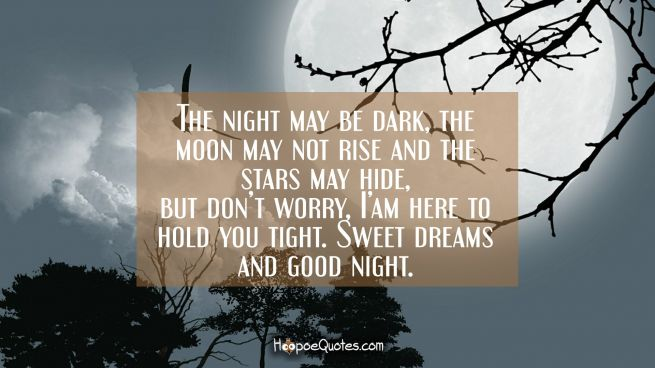 The night may be dark, the moon may not rise and the stars may hide, but don't worry, I' am here to hold you tight. Sweet dreams and good night.