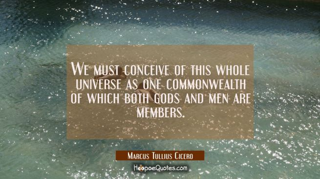 We must conceive of this whole universe as one commonwealth of which both gods and men are members.