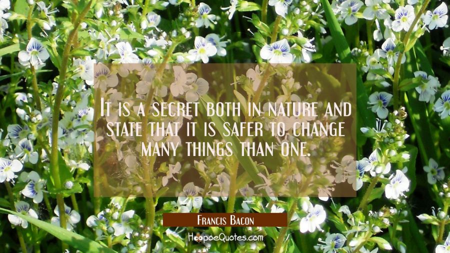 It is a secret both in nature and state that it is safer to change many things than one. Francis Bacon Quotes