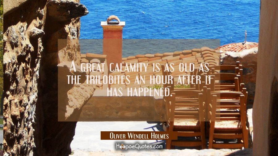 A great calamity is as old as the trilobites an hour after it has happened. Oliver Wendell Holmes Quotes