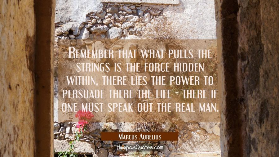 Remember that what pulls the strings is the force hidden within, there lies the power to persuade t Marcus Aurelius Quotes