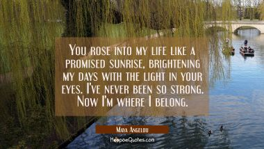 You rose into my life like a promised sunrise brightening my days with the light in your eyes. I've Maya Angelou Quotes