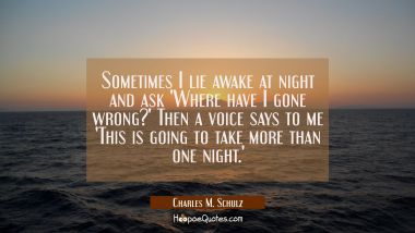 Sometimes I lie awake at night and ask 'Where have I gone wrong?' Then a voice says to me 'This is