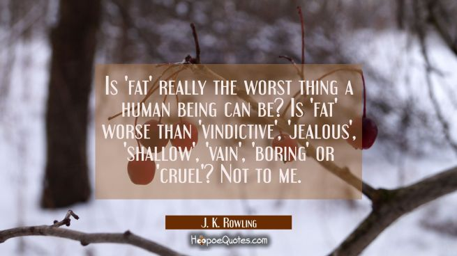 Is 'fat' really the worst thing a human being can be? Is 'fat' worse than 'vindictive', 'jealous', 'shallow', 'vain', 'boring' or 'cruel'? Not to me.