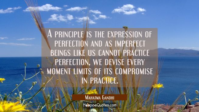 A principle is the expression of perfection and as imperfect beings like us cannot practise perfect
