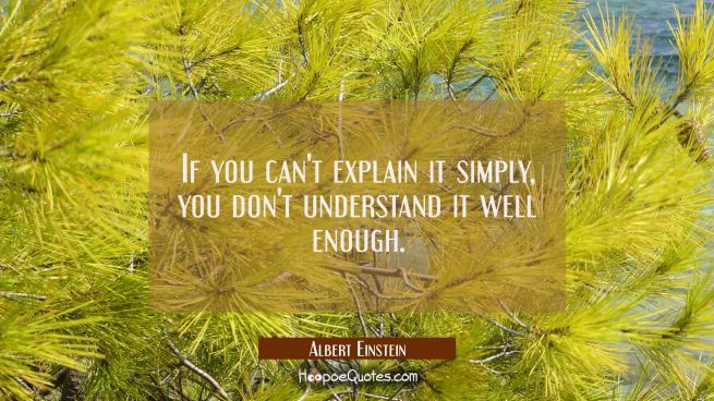 If you can't explain it simply you don't understand it well enough.