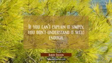 If you can't explain it simply you don't understand it well enough. Albert Einstein Quotes