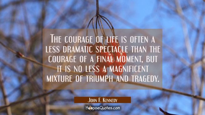 The courage of life is often a less dramatic spectacle than the courage of a final moment, but it i