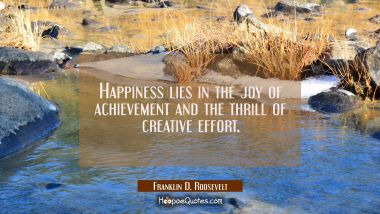 Happiness lies in the joy of achievement and the thrill of creative effort. Franklin D. Roosevelt Quotes
