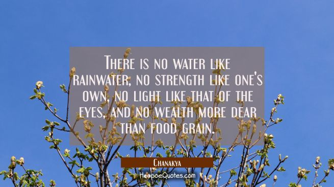 There is no water like rainwater, no strength like one's own, no light like that of the eyes, and n