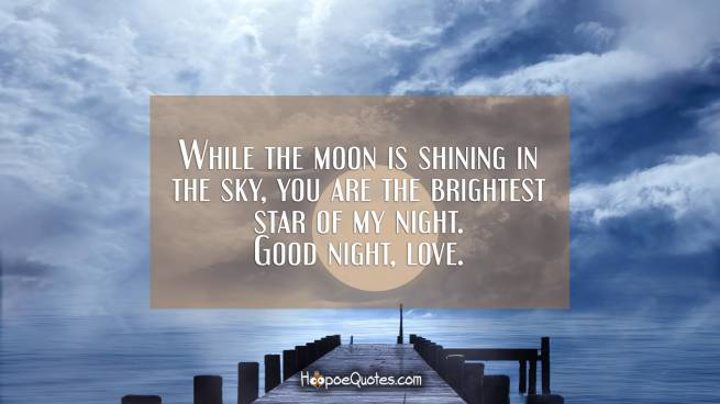 While the moon is shining in the sky, you are the brightest star of my night. Good night, love.