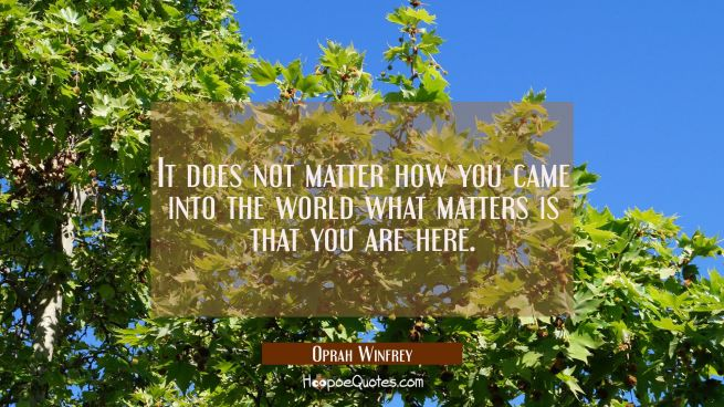 It does not matter how you came into the world what matters is that you are here.