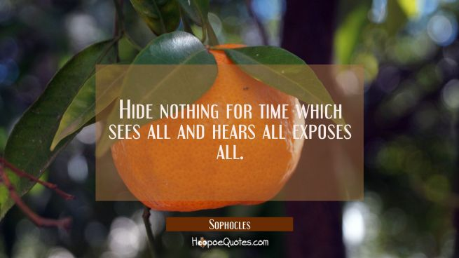 Hide nothing for time which sees all and hears all exposes all.