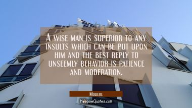 A wise man is superior to any insults which can be put upon him and the best reply to unseemly beha Moliere Quotes