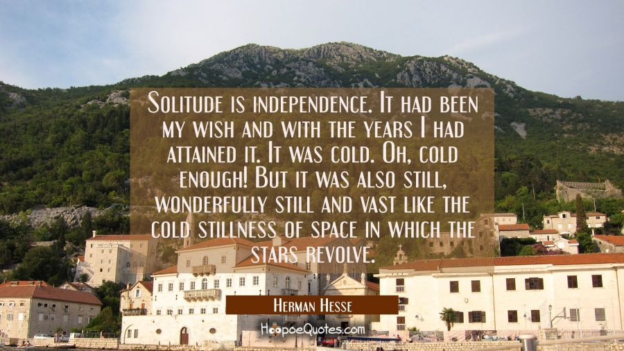 Solitude is independence. It had been my wish and with the years I had attained it. It was cold. Oh, cold enough! But it was also still, wonderfully still and vast like the cold stillness of space in which the stars revolve. Herman Hesse Quotes