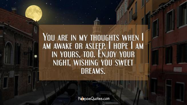 You are in my thoughts when I am awake or asleep. I hope I am in yours, too. Enjoy your night, wishing you sweet dreams.